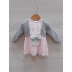 Vestido + bolero rosa/gris Sardon