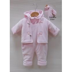 Conjunto Sardon acolchado rosa bebe