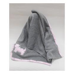 Toalla Sardon Perrito gris/rosa