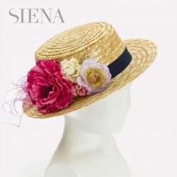 Canotier Siena flores fresa