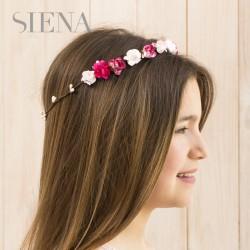 Corona Siena flores fucsia