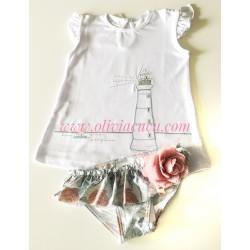 Conjunto baño niña Rochy Flor celeste rosa