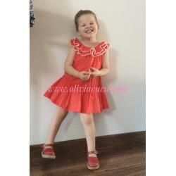 Vestido Rochy Plumeti Coral
