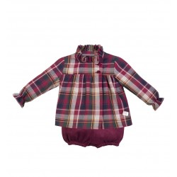 Conjunto niño Eve Children cuadros granate