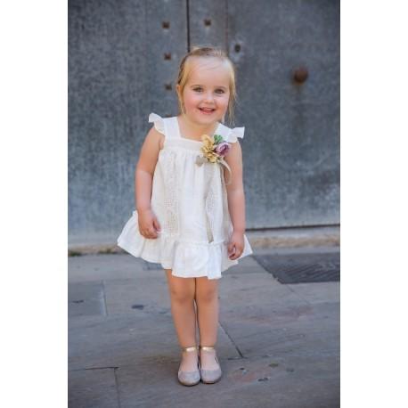 Vestido Rochy Panama Bordado Blanco