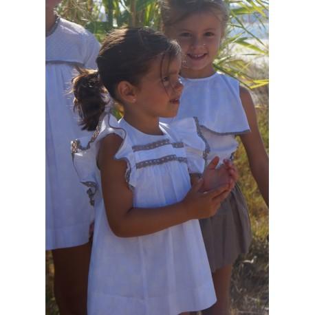 Vestido Ancar blanco con pasamanería
