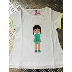 Camiseta Eva Castro blanca/amarilla fluor