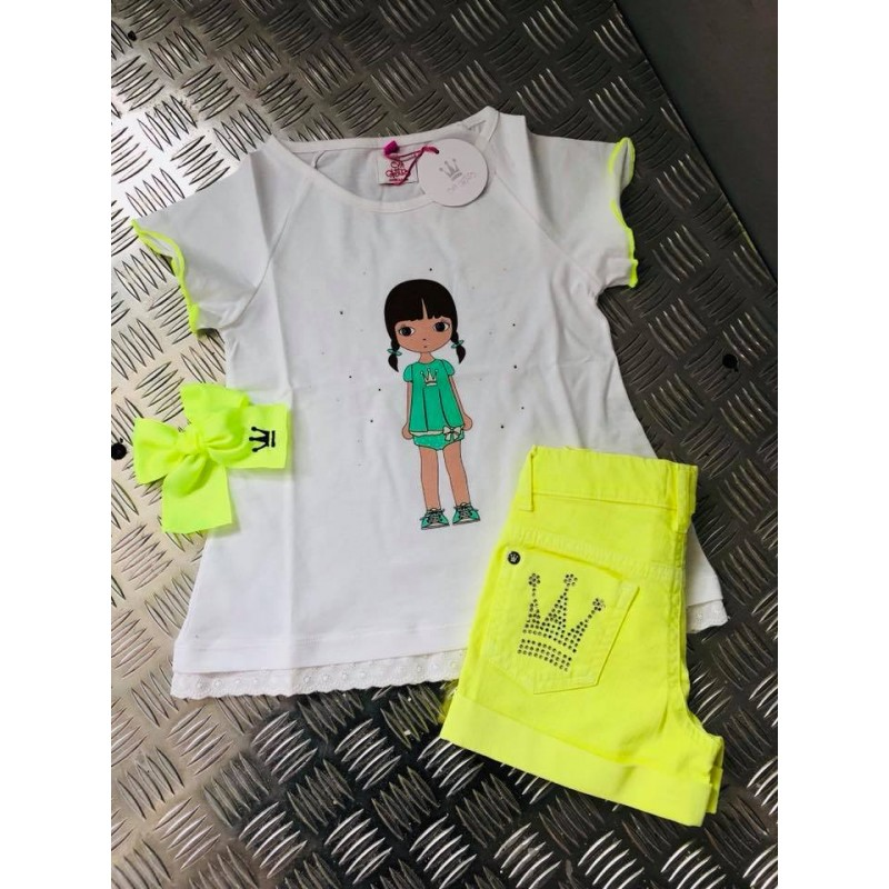 981b53c18 ... Camiseta Eva Castro blanca amarilla fluor ...