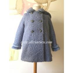 Abrigo Eva Castro  lana cocida azul