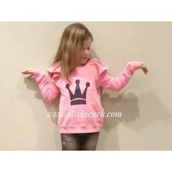 Sudadera Eva Castro niña rosa fluor volantes hombros
