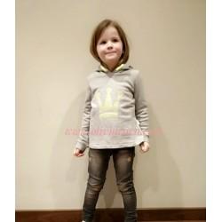 Sudadera Eva Castro niña gris y fluor