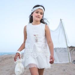 Vestido Rochy Ceremonia Vintage Lino Bordado