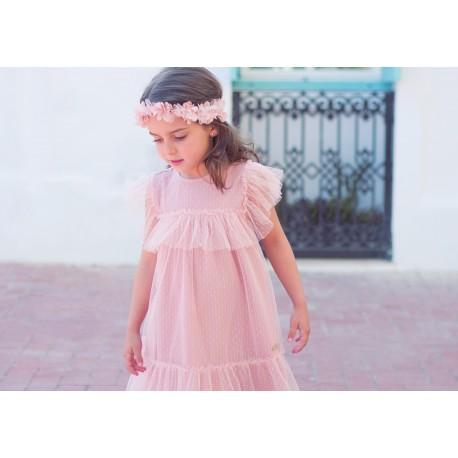 Vestido Shell de Eve Children tul plumeti rosa