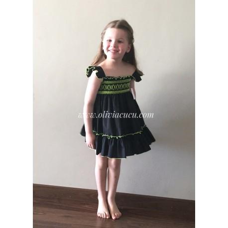 Vestido Eva Castro niña Denise negro/fluor