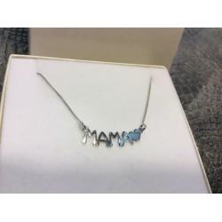 Collar de plata de ley letras MAMA