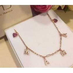 Collar de plata de ley letras MAMA bañado oro rosa
