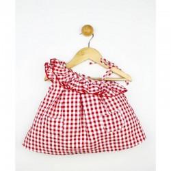 Vestido bebe escote asimetrico vichy