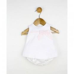 Conjunto bebé piqué y puntilla blanco y rosa
