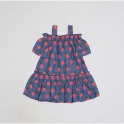 Vestido azulon estampado piñas