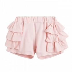 Pantalon tipo short tres capas volantes rosa