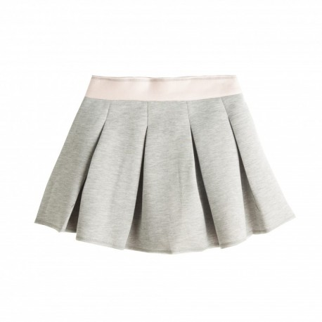 Falda de niña neopreno tablas gris y rosa