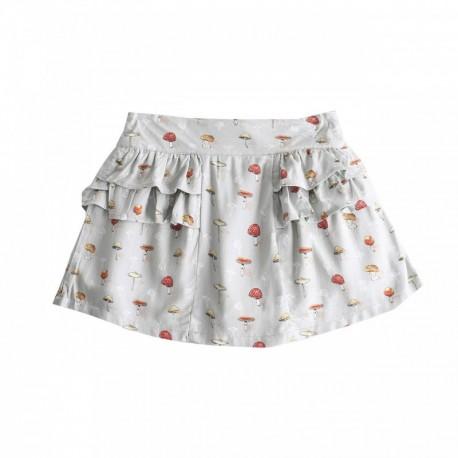 Falda de niña volantes setas