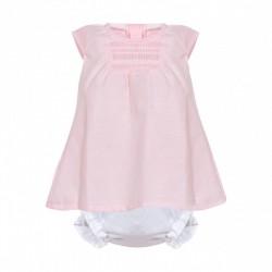 Vestido bebe rosa con culetin blanco