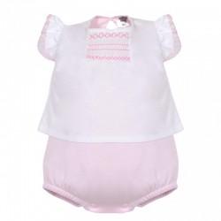 Ranita bebe rosa y blanca bordados