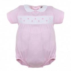 Pelele corto cuello bebe rosa