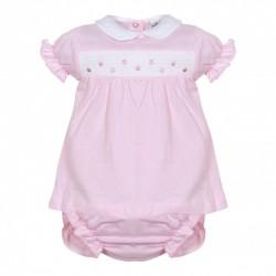 Vestido bebe manga corta con cubrepañal rosa