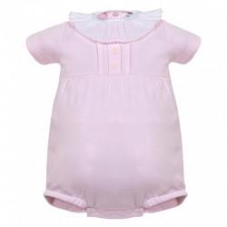 Pelele bebe rosa cuello volante