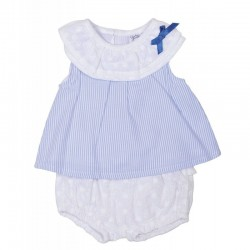 Conjunto bebe blanco bordado perforado