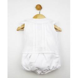 Conjunto pololo pique y blusa plumeti blanco