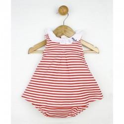 Vestido bebe marinero rayitas rojas con braguita