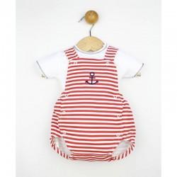 Ranita bebe marinera roja con camiseta