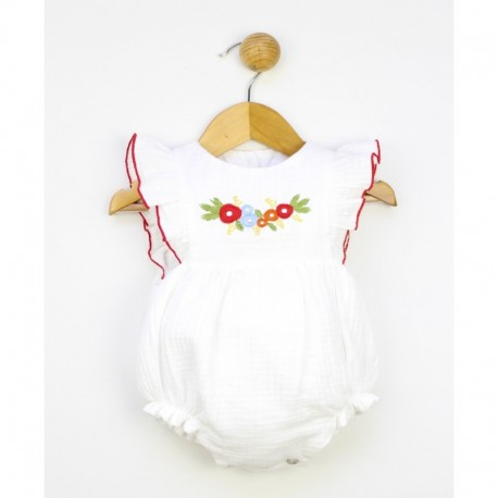 Pelele bebe manga volante bordado flores
