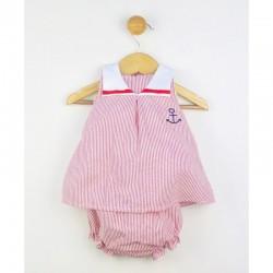 Conjunto de bebe marinero rayitas rojas