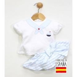 Conjunto de bebe marinero faldita celeste