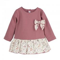 Vestido combinado Siena rosa palo